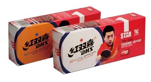 Míčky DHS* stolní tenis plast CELL FREE DUAL D*40 balení 10 ks ŽLUTÉ