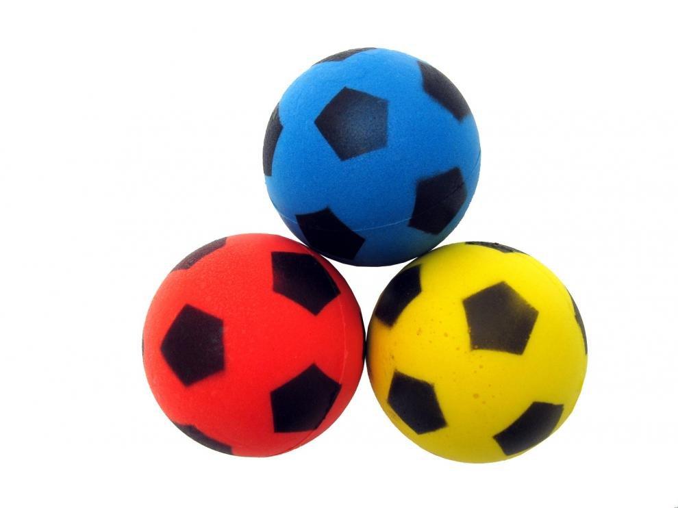Míček na SOFT TENIS - Motiv Football 70 mm, 3 ks