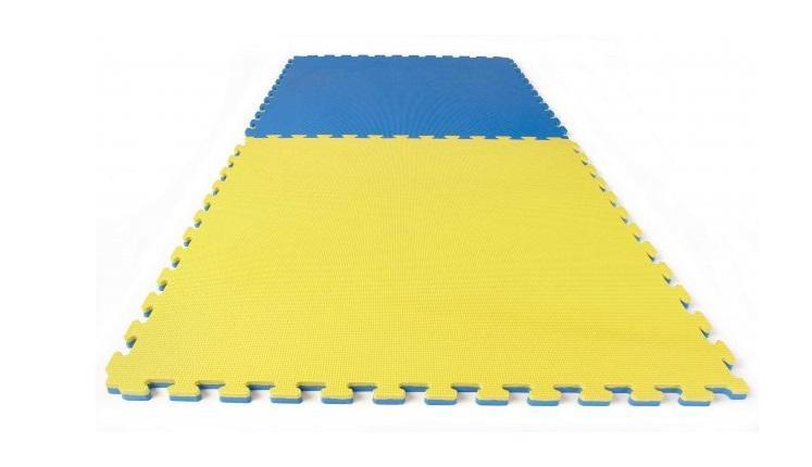 TATAMI PUZZLE podložka oboustranná 100x100x3 cm žluto-modrá