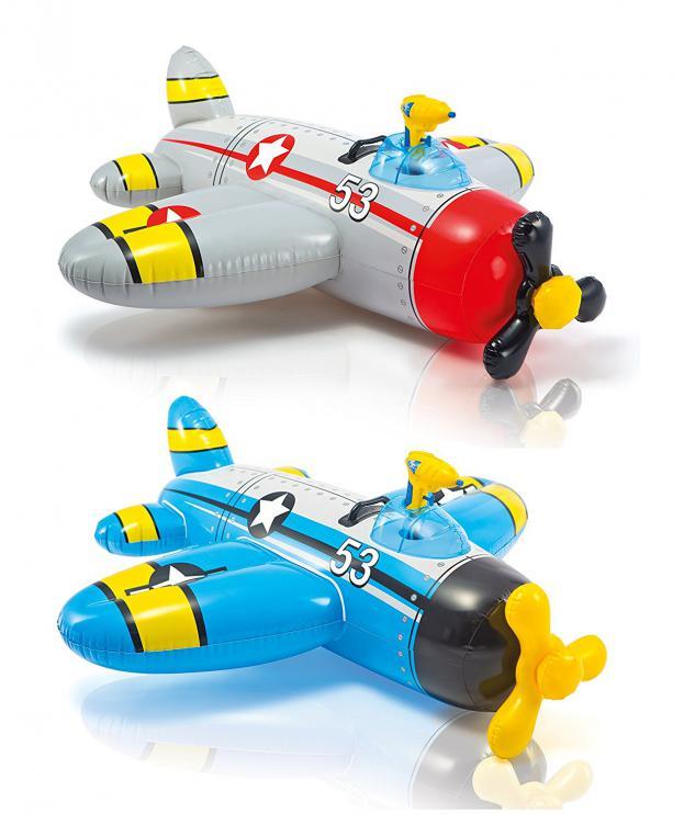 Nafukovací hračka do vody INTEX WATER-GUN PLANE 57537 132x130 cm šedá